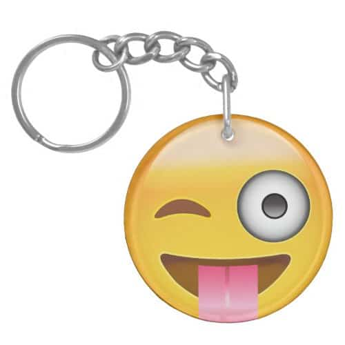 Face With Stuck Out Tongue And Winking Eye Emoji Keychain