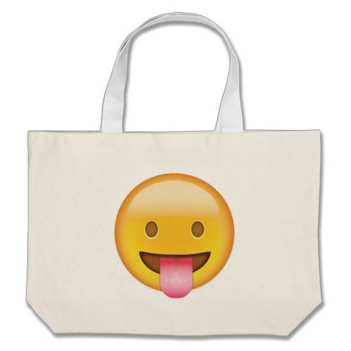 Face With Stuck Out Tongue Emoji Large Tote Bag