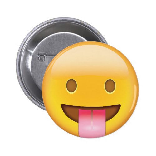 Face With Stuck Out Tongue Emoji Pinback Button