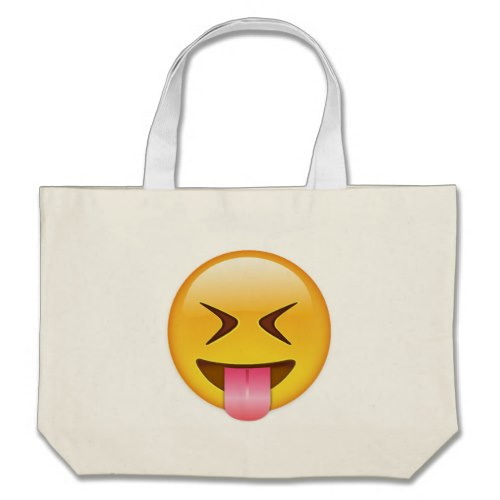 Face With Stuck Out Tongue & Tightly Closed Eyes Large Tote Bag