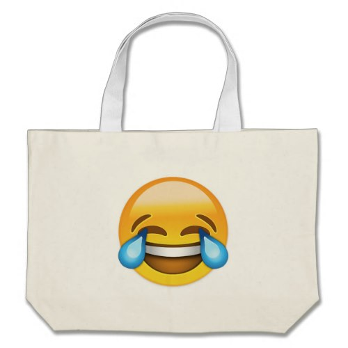 Face With Tears Of Joy Emoji Large Tote Bag