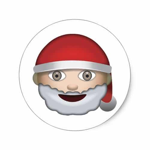 Father Christmas Emoji Classic Round Sticker