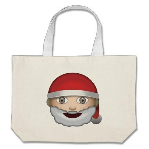 Father Christmas Emoji Large Tote Bag