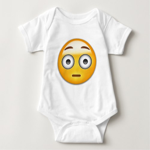 Flushed Face Emoji Baby Bodysuit