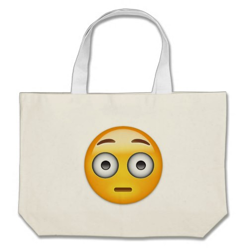 Flushed Face Emoji Large Tote Bag