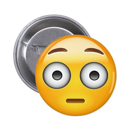Flushed Face Emoji Pinback Button