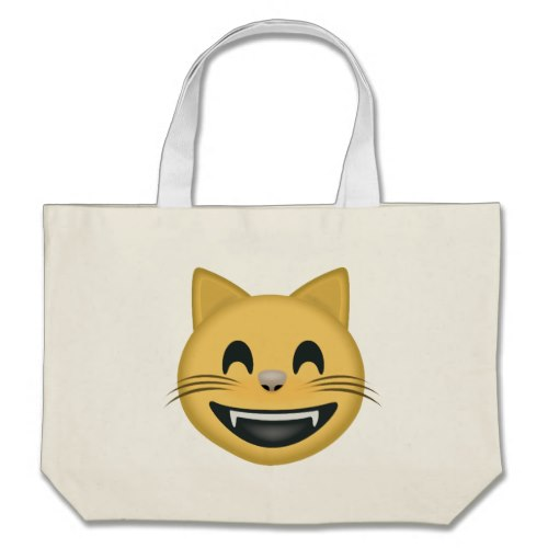 Grinning Cat Face With Smiling Eyes Emoji Large Tote Bag