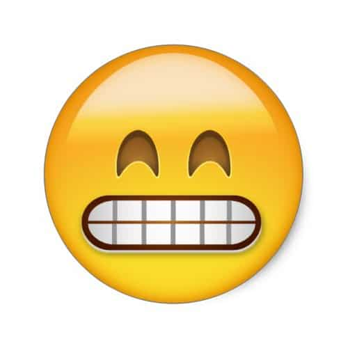 Grinning Face With Smiling Eyes Emoji Classic Round Sticker