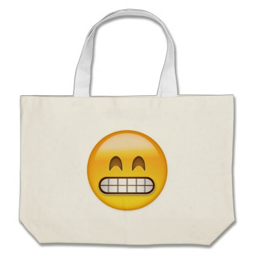 Grinning Face With Smiling Eyes Emoji Large Tote Bag