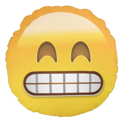 Grinning Face With Smiling Eyes Emoji Round Pillow