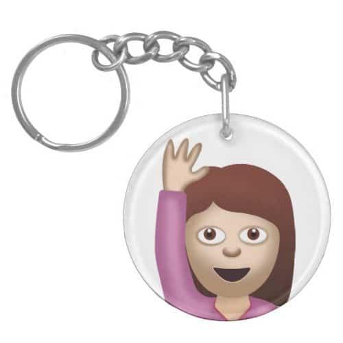Happy Person Raising One Hand Emoji Keychain