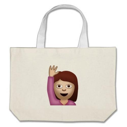 Happy Person Raising One Hand Emoji Large Tote Bag