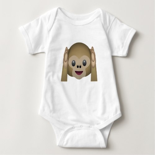 Hear No Evil Monkey Emoji Baby Bodysuit