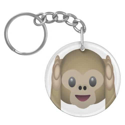 Hear No Evil Monkey Emoji Keychain