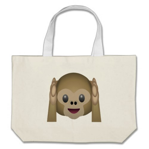 Hear No Evil Monkey Emoji Large Tote Bag