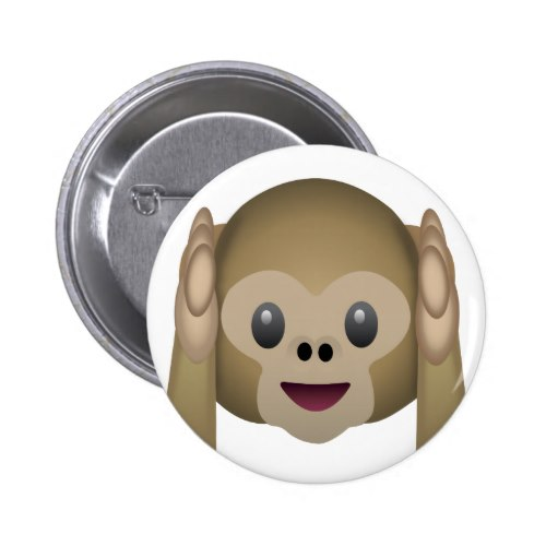 Hear No Evil Monkey Emoji Pinback Button