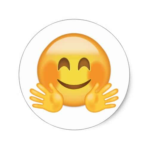 Hugging Face Emoji Classic Round Sticker Buy Online Emojiprints