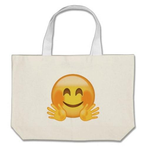Hugging Face Emoji Large Tote Bag
