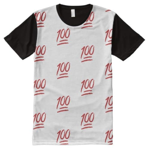 Hundred Points Symbol Emoji All-Over-Print T-Shirt