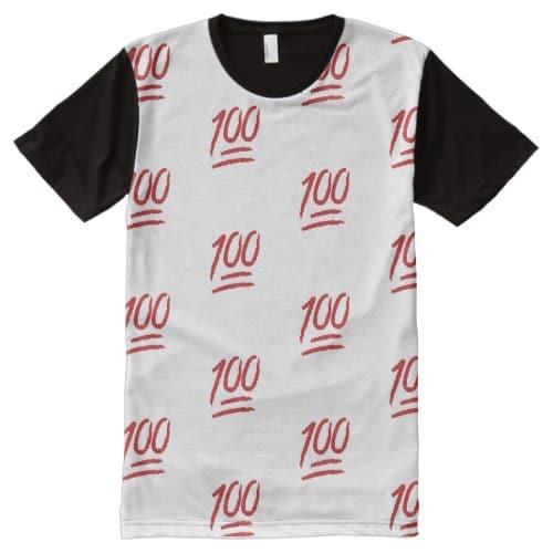 Hundred Points Symbol Emoji All-Over-Print T-Shirt