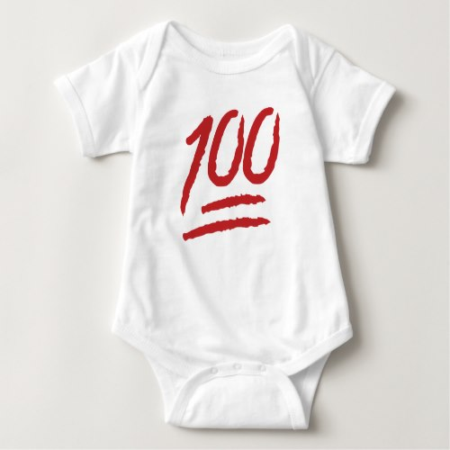 Hundred Points Symbol Emoji Baby Bodysuit