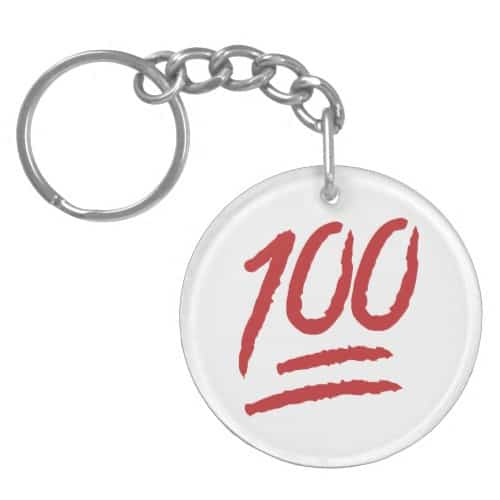 Hundred Points Symbol Emoji Keychain