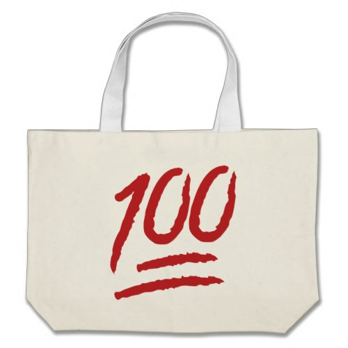 Hundred Points Symbol Emoji Large Tote Bag