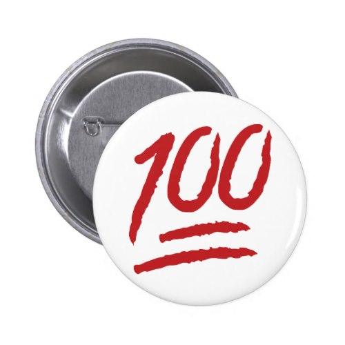 Hundred Points Symbol Emoji Pinback Button