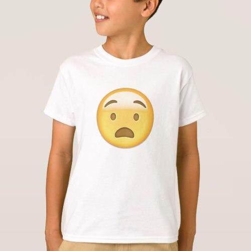 Anguished Face Emoji T-Shirt for Kids