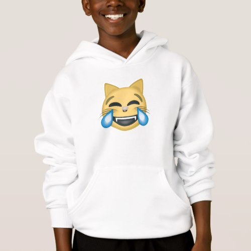 Cat Face With Tears Of Joy Emoji Hoodie for Kids