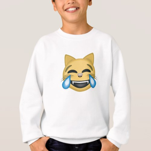 Cat Face With Tears Of Joy Emoji Sweatshirt for Kids