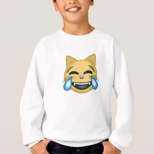 Cat Face With Tears Of Joy Emoji Sweatshirt for Kids