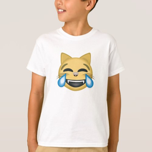 Cat Face With Tears Of Joy Emoji T-Shirt for Kids
