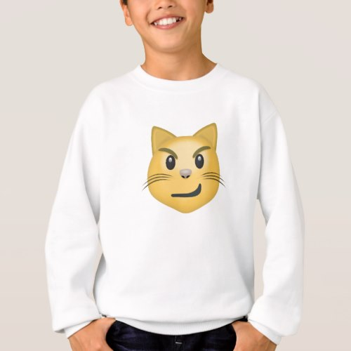 Cat Face With Wry Smile Emoji Sweatshirt for Kids