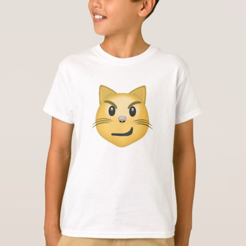 Cat Face With Wry Smile Emoji T-Shirt for Kids