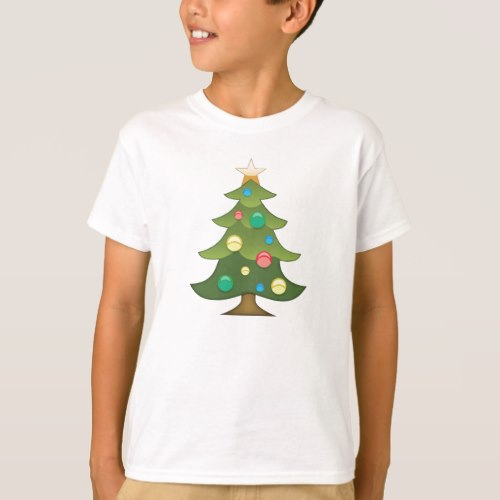 Christmas Tree Emoji T-Shirt for Kids