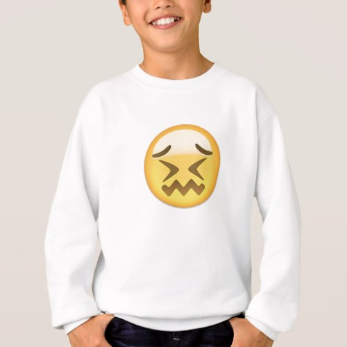 Confounded Face Emoji Sweatshirt for Kids