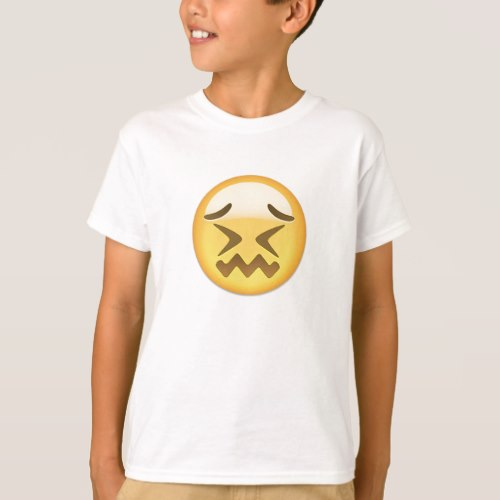 Confounded Face Emoji T-Shirt for Kids