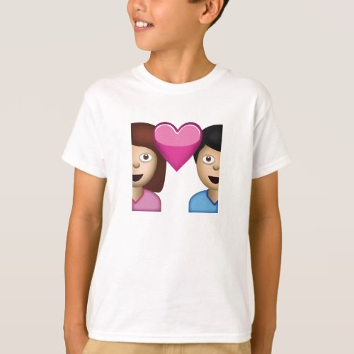 Couple With Heart Emoji T-Shirt for Kids