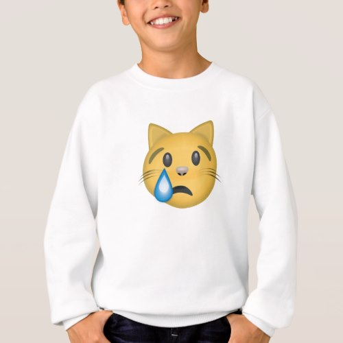 Crying Cat Face Emoji Sweatshirt for Kids