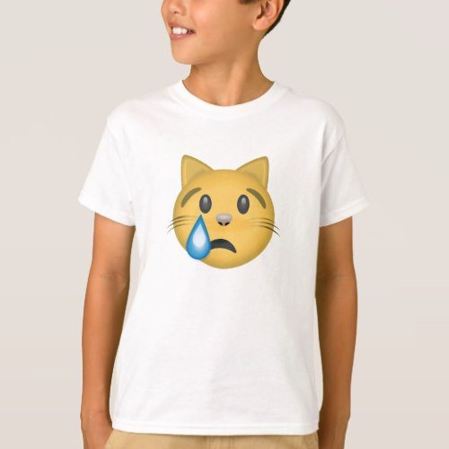 Crying Cat Face Emoji T-Shirt for Kids