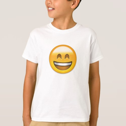 Emoji Smiling Face Open Mouth And Smiling Eyes T-Shirt for Kids