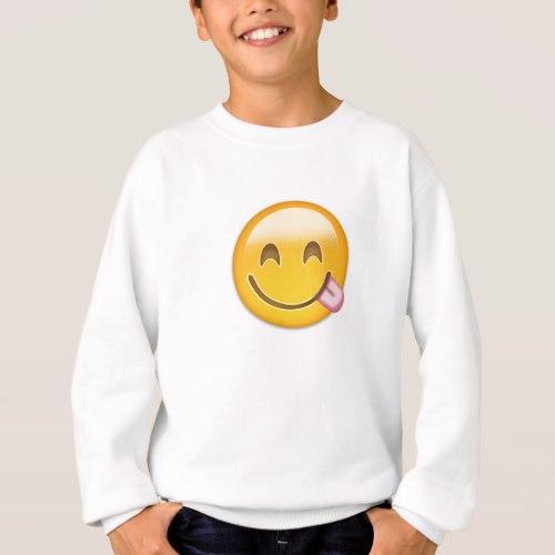 Face Savouring Delicious Food Emoji Sweatshirt for Kids