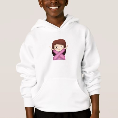Face With No Good Gesture Emoji Hoodie for Kids
