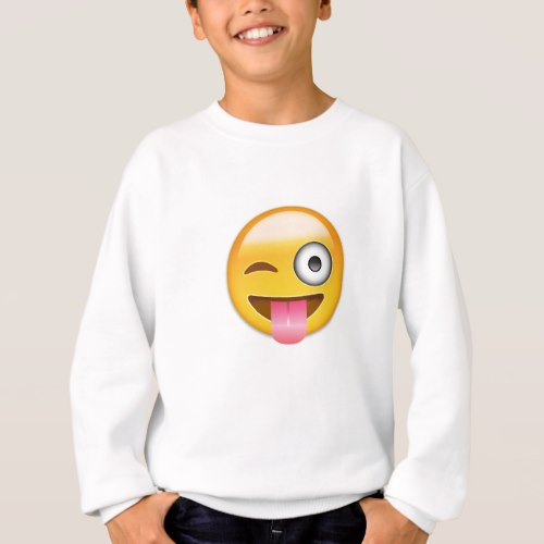 Face With Stuck Out Tongue And Winking Eye Emoji Sweatshirt for Kids