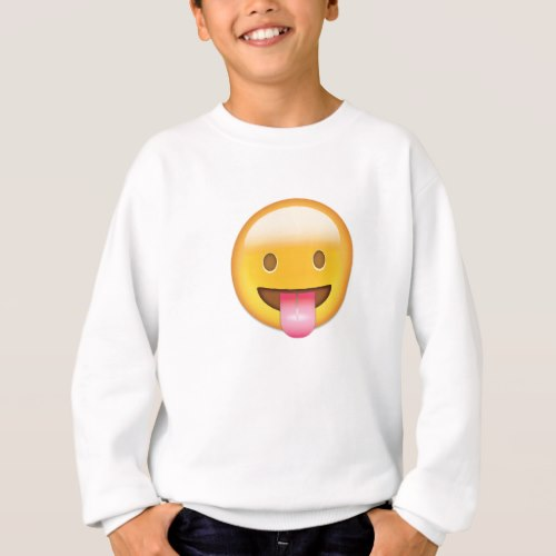 Face With Stuck Out Tongue Emoji Sweatshirt for Kids