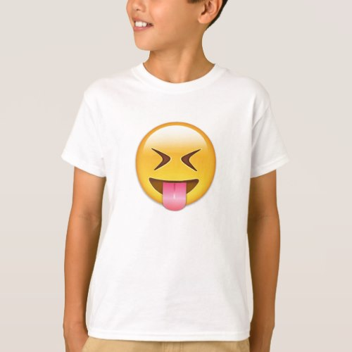 Face With Stuck Out Tongue & Tightly Closed Eyes T-Shirt for Kids
