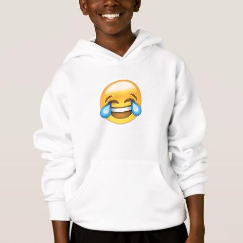 Face With Tears Of Joy Emoji Hoodie for Kids