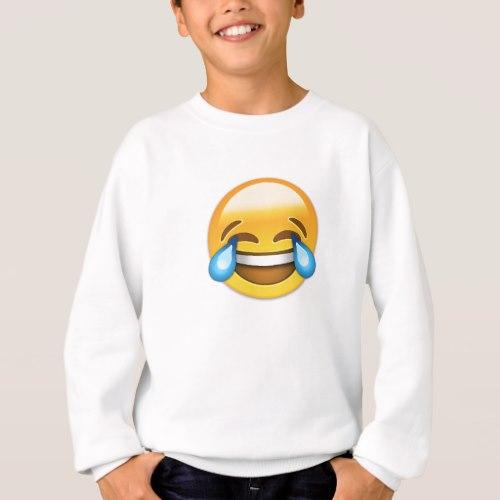 Face With Tears Of Joy Emoji Sweatshirt for Kids