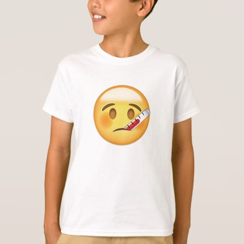 Face With Thermometer Emoji T-Shirt for Kids